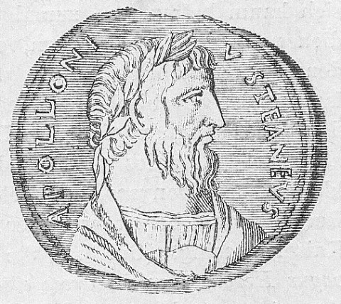 Drawing of a coin featuring Apollonius of Tyana