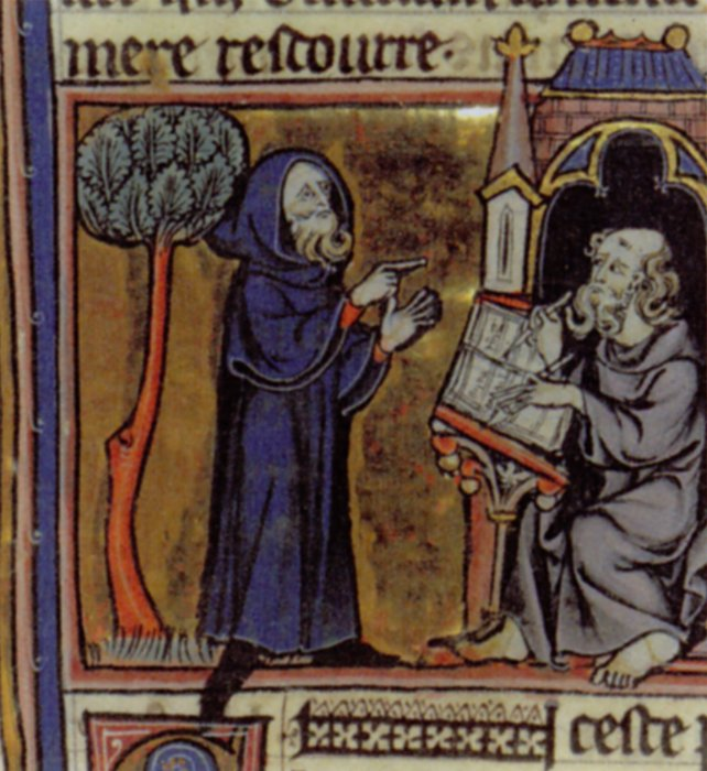 Merlin reciting his story to be written down in a 13th-century illustration for the prose version of the poem Merlin