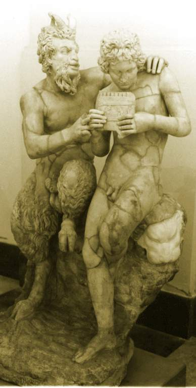 Pan teaching his eromenos, the shepherd Daphnis, to play the pan flute,