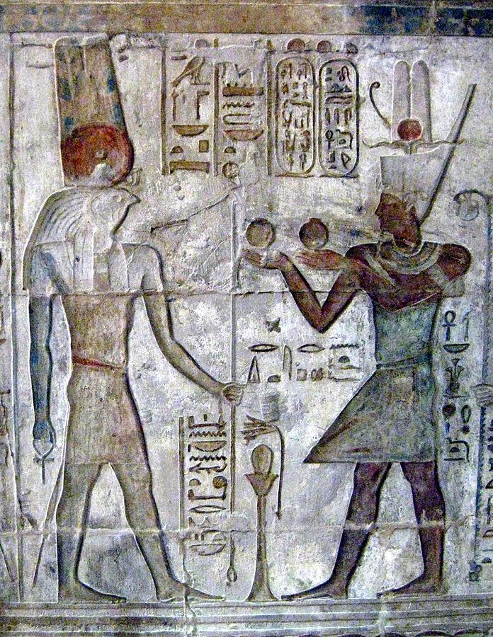 Pharaoh Ptolemy IV Philopator (222–204 BC) adoring Montu