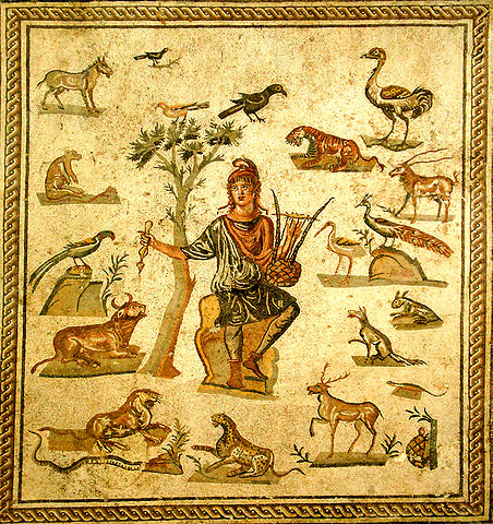 Orpheus surrounded by animals.