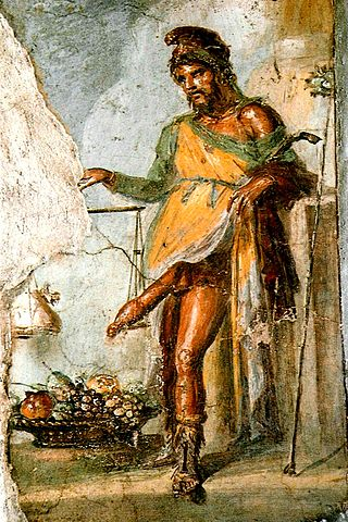 Fresco of Priapus, Casa dei Vettii, Pompeii. Depicted weighing his enormous erect penis against a bag of gold.