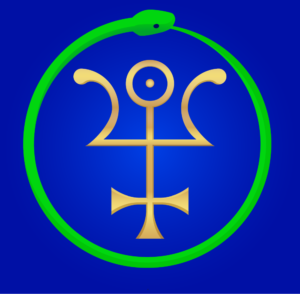 Sabazius seal: gold sigil with green snake on blue background